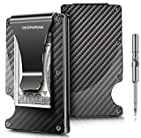 Minimalist Carbon Fiber Slim Wallet | RFID Blocking Front Pocket Wallet | Carbon Fiber Money Clip | Credit Card Holder for Men and Women | The Perfect Gift 'Money Clip' | 2018 New Version (black1)