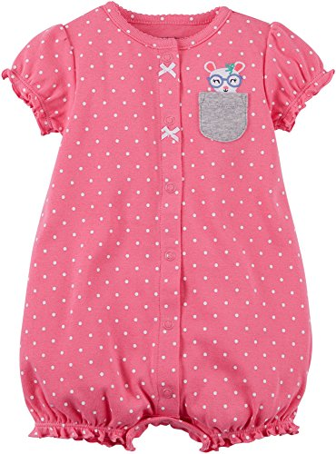 Carter's Baby Girls' Dotted Mouse Pocket Snap up Cotton Romper 18 Months