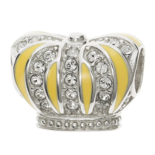 Rhodium On 925 Sterling Silver Yellow Enamel Royal King Crown Clear Cz Crystal Bead For European Charm Bracelets (Enamel Crown Charm)