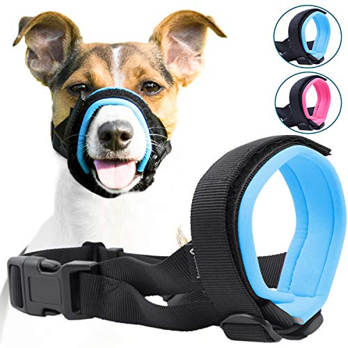 Gentle Muzzle Guard for Dogs - Prevents Biting and Unwanted Chewing Safely - New Secure Comfort Fit - Soft Neoprene Padding - No More Chafing - Training Guide Helps Build ()