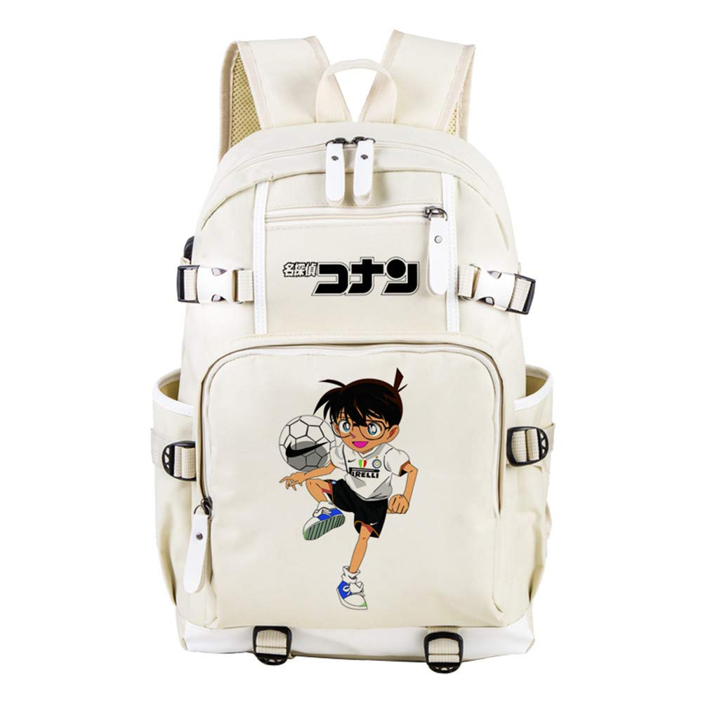 GuiSoHn Studente Zaino da Viaggio per Esterni Zaino per Notebook da Scuola per Bambini Detective Conan Anime Cosplay Backpack con Porta di Ricarica USB