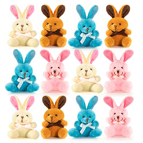 Easter Colored Soft Plush Bunnies Perfect Easter Eggs Filler or Easter Baskets Filler - 12 Pack ()