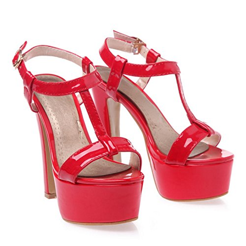 COOLCEPT Mujer Moda Correa en T Sandalias Punta Abierta Slingback Tacon ancho Zapatos Rojo