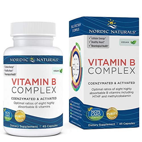 Nordic Naturals Vitamin B Complex – Coenzymated and Activated, Supports Daily Cellular Maintenance*, Non-GMO and Certified Vegan – 45 Count