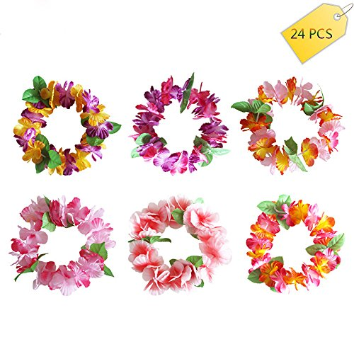 Pink Hat Hydrangea - 24PCS colorful Tropical Luau Hawaiian leis Flowers Headband Headpiece Necklaces for Party Supplies,Birthday Party Favors,wedding ,Easter Decorations