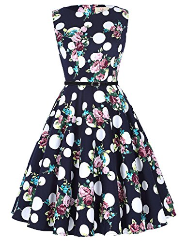 Floral Print Retro Wiggle Dresses Classic Tea Dress Size M - Boatneck Print Dress