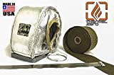 Turbo Blanket Heat Shield Kit for T3 Turbocharger with LAVA / TITANIUM Downpipe Exhaust Wrap and Stainless Ties - SILVER / CHROME - Thermal Zero