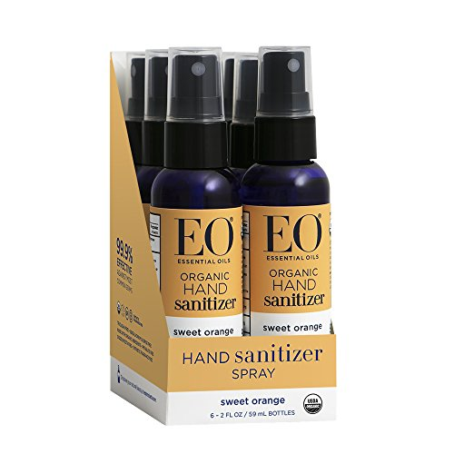 Natural Hand Sanitizer Spray - EO Hand Sanitizer Spray, Organic Sweet Orange, 2 Ounce (6 Count)