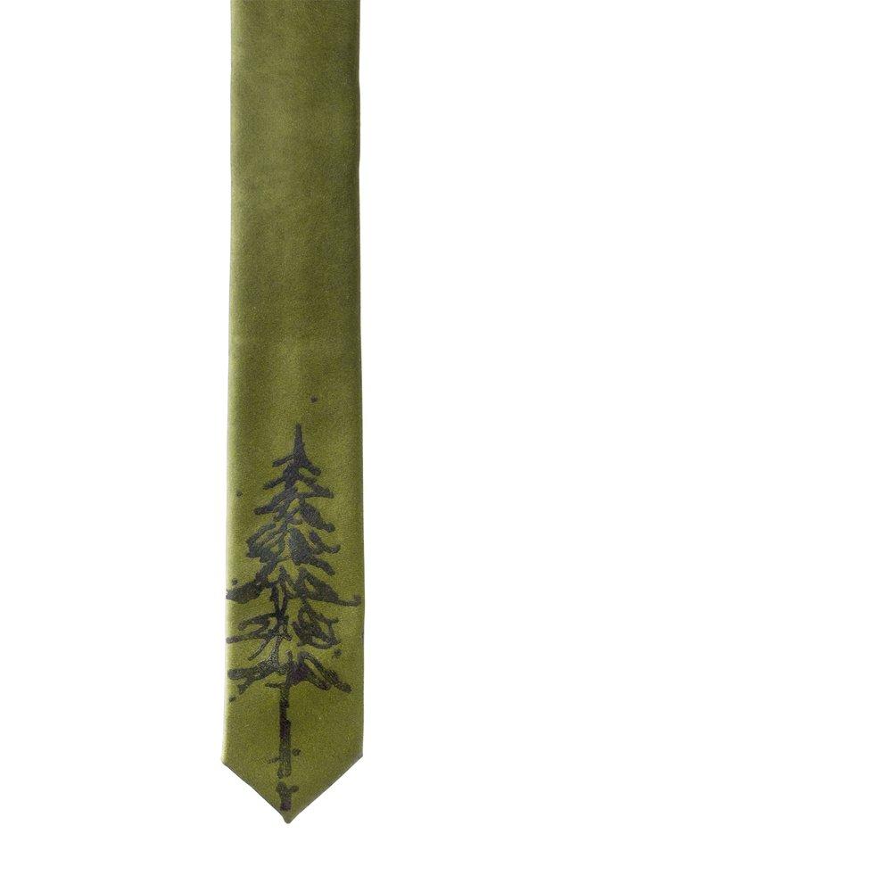 Pine Trees Skinny Tie - Olive Green