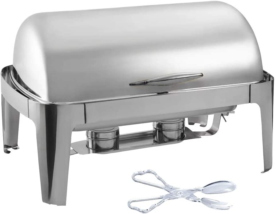 Tiger Chef Chafing Dish Buffet Set - Stainless Steel Chafer - Roll-Top Chaffing Dishes 8 Quart and Plastic Salad Tong - Chafer and Buffet Warmer Set