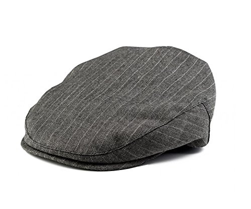 (Born to Love Infant & Toddler Boys Pinstripe Driver Cap Baby Hat (NB), Grey and White)