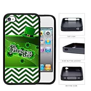 St. Patricks Day Banner with Green and White Chevron Pattern and Leprechaun Hat iPhone 4 4s Rubber Silicone TPU Cell Phone Case