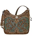 American West Women's Hand Tooled Concealed Carry Shoulder Bag Distressed Brown One Size