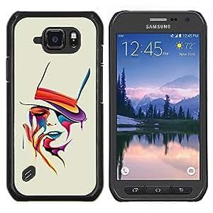 EJOOY---Cubierta de la caja de protección para la piel dura ** Samsung Galaxy S6Active Active G890A ** --Colorido del arte del retrato