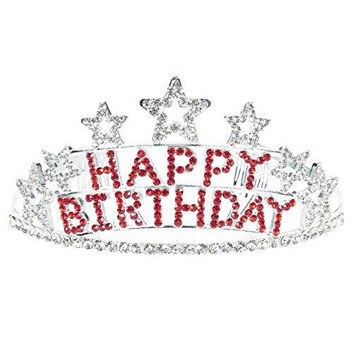 Rhinestone Birthday Tiara - Decorative Birthday Headband For Women, Happy Birthday, Star-Shaped Princess Crown - 5.1 x 2.6 x 5.7 Inches