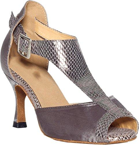 Salabobo L029 Womens Sexy Latin Tango Cha-cha Ballroom Wedding Party Prom T-bar Peep Toe Custom Heel Satin Dance Shoes Grey 7Hj64Aq