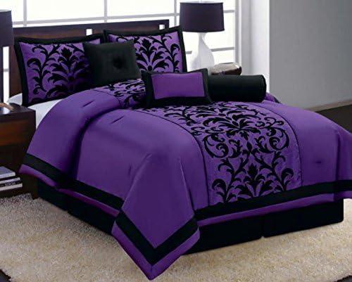 Amazon Com 8 Piece Luxury Black And Purple Comforter Set Donna