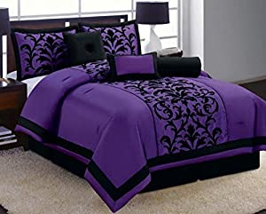 Amazoncom Piece Luxury Black And Purple Comforter Set Donna - Black and purple comforter sets