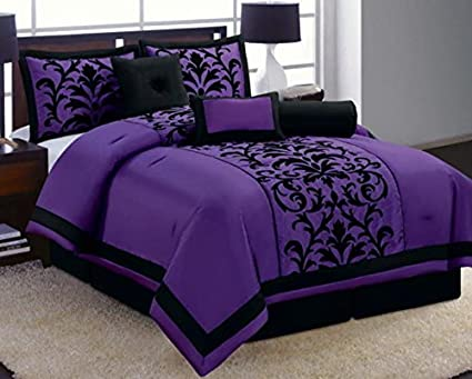 8 Piece Luxury Black and Purple Comforter Set Donna Bed in a Bag New Queen cf1356cc0