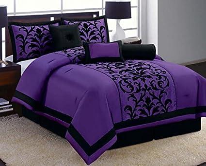 Amazoncom 8 Piece Luxury Black And Purple Comforter Set Donna Bed