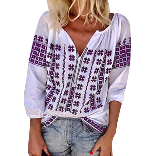 Aniywn Womens Casual 3/4 Sleeve Loose Printing Pullover Top Women V-Neck Beach Holiday Blouse Tees Purple