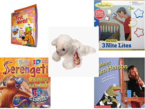 Children's Gift Bundle - Ages 3-5 [5 Piece] - Scooby-Doo. First Words Card Game - Infantino One Touch Nursery Lights Set of Three - Ty Beanie Baby - Fleece the (Scooby Doo 3 Piece)