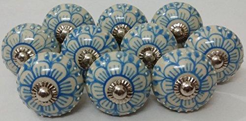 (10 Flower Design Ceramic Knobs Handmade Handpainted Ceramic Door Knobs Kitchen Cabinet Drawer Pulls Kid's Bedroom Knobs by Zoya's Lots of 10 Knobs (Sky Blue))