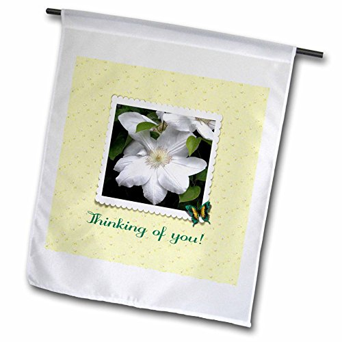 Clock Scalloped (3dRose Beverly Turner Thinking of you Photography - Thinking of you, Clematis, Scalloped Frame, Butterfly, Yellow Flowers - 12 x 18 inch Garden Flag (fl_282190_1))
