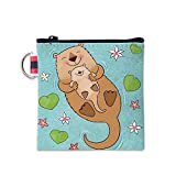 Otter With Baby Swim In The Pool Canvas Coin Purse Cash Bag Small Zipper Purse Wallets Mini Money Bag Change Pouch Key Holder Double Sides Printing
