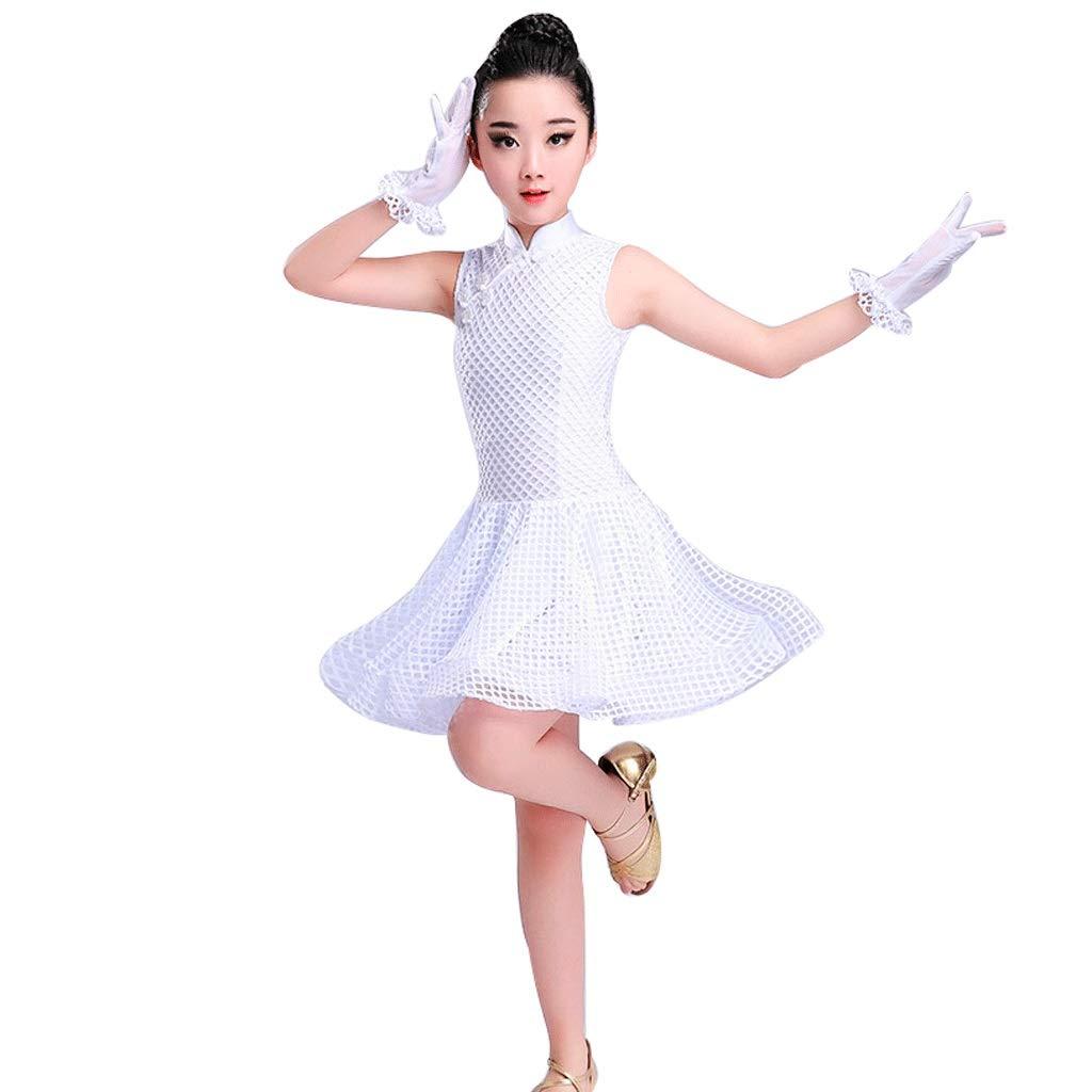 blanc X-grand JTSYUXN sans Manches VêteHommests De Danse Latine for Enfants Filles Robe De Compétition Rumba Tango VêteHommests De Perforhommece Robe De Pratique Creuse (Couleur   blanc, Taille   XL)