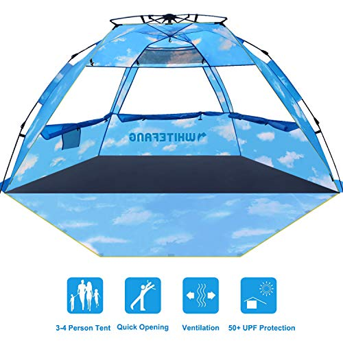Beach Tent, Pop Up Instant Family Tent with UPF 50 Sun Protection, 3-4 Person Automatic & Windproof Sun Shelter Cabana with Carrying Bag (Limited Edition-Cloud Print) (The Best Family Tents)
