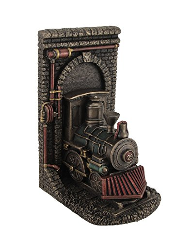 Resin Decorative Bookends Steampunk Steam Locomotive Bronze Finished Single Bookend 5.5 X 8 X 4.5 Inches Bronze