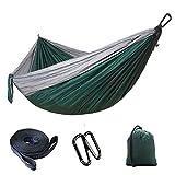 "Flyani Ultralight Double Camping Hammock 210T Parachute Hammocks with Hanging Strap for Travel Beach Yard 103""(L) X 56""(W) (Grey/Dark Green)"