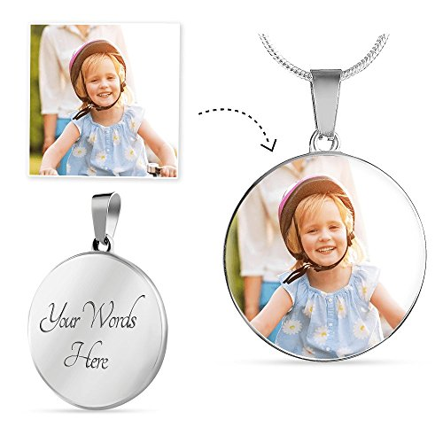 Weezag Personalized Custom Pendant Necklace Bangle, Photo Image Text Engraving Personalize (01 Necklace (Silver))