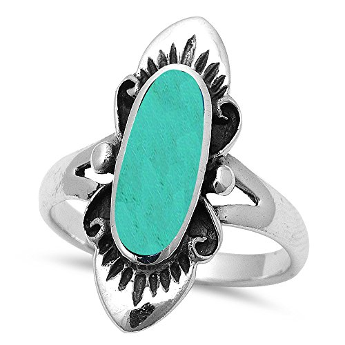 Bali Style Green Turquoise .925 Sterling Silver Ring Sizes 5-10 (10)