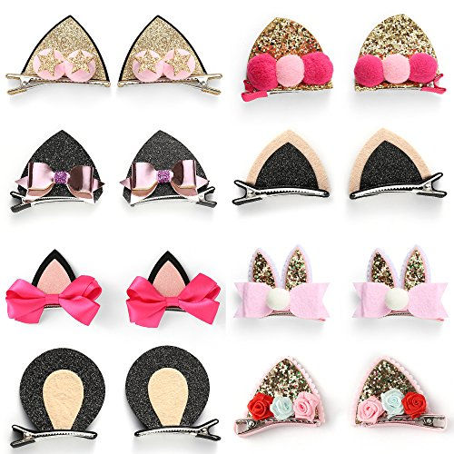 OneDor Sparkle Shiny Sequin Animal ear Hair Bow Ribbon Clip sets for Babies, Toddlers, Young Girls, and Children (8 Pairs) (One Sequin)