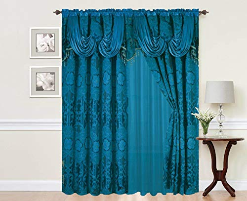 Sapphire Home Rod Pocket Window 84 Inch Length Curtain Drape Panels w/Attached Valance & Sheer Backing + 2 Tassels - Traditional Floral Curtain Drape Set for Living and Dining Rooms, Julia Turquoise