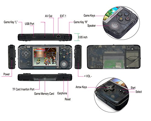Handheld Game Console-Retro GAME, Built-in 800 games support Arcade games CPS/NES/NEOGEO/GBA/GBC/GB/ SFC/SEGA and other Classical Games, Good Gifts For Children,For Kids to Adult. (Translucent black)