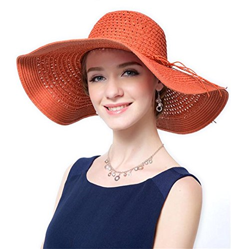 Women Floppy Hat Bowknot Straw Hat Wide Lines Orange Brim Beach Hat