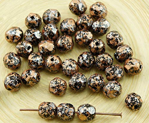 40pcs Opaque Jet Black Granite Bronze Light Copper Silver Tweedy Patina Czech Glass Round Faceted Fire Polished Beads 6mm
