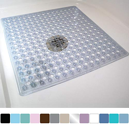 Gorilla Grip Original Patented Bath, Shower, Tub Mat, 21x21, Machine Washable, Antibacterial, BPA, Latex, Phthalate Free, Square Bathroom Mats with Drain Holes, Suction Cups, Clear (Best Bath Mats For Elderly)