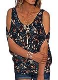 Women's Floral Summer Cold Shoulder Tops Casual Scoop Neck Short Sleeve T-Shirt