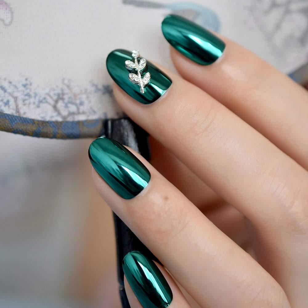 EchiQ Espejo reflectante verde oscuro chapado en metal uñas ...