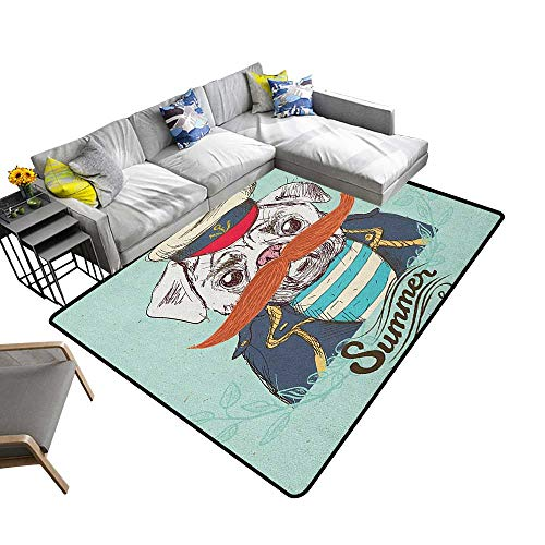 Pug Custom Pattern Floor mat Captain Dog with Hat Mustache Jacket and Shirt Cute Animal Funny Image 70
