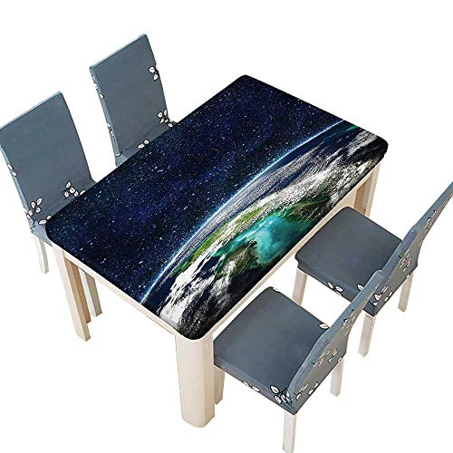PINAFORE Polyester Tablecloths Space Moon Universe Decorations Collection Giclee Art Prints of Galaxy Nebula Earth and for Indoor and Outdoor Use W25.5 x L65 INCH (Elastic Edge)