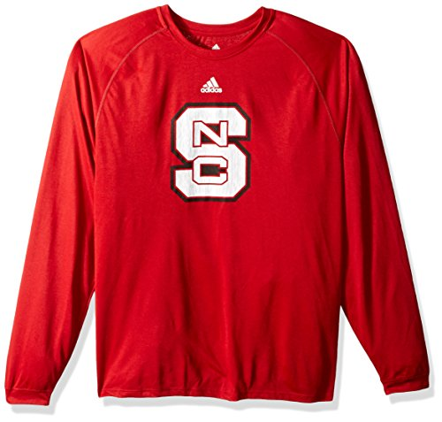 adidas NCAA North Carolina State Wolfpack Adult Men Sideline Spine Climalite L/S Tee, Large, Power Red