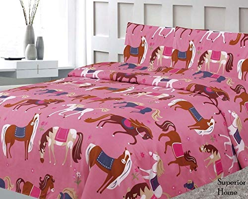(Sapphire Home Three (3) Piece Twin Size Pony Theme Print Sheet Set with Fitted, Flat and 1 Pillow Case, Pink Girls Kids Bedding Sheet Set)