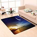 Nalahome Custom carpet ment Decor Serene Landscape with Moon Lunar and Star Mystic Holy Sky over Lake Image Blue Orange area rugs for Living Dining Room Bedroom Hallway Office Carpet (6.5' X 10')