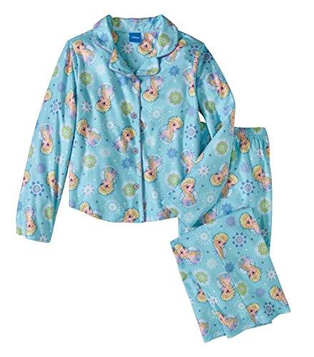 Disney Frozen Princess Elsa Girls 2 Piece Button Down Flannel Pajama Set - Piece Pajama 2 Flannel