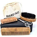 Beard Brush-Beard Combs(Mango Wood) Grooming Beard Kit for Men with Barber Scissors+2 Edge Handmade Comb+Long Comb+Brush w/Synthetic Bristles+Cotton Carry Pouch in a Gift Box
